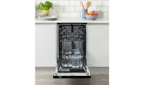 + VAT Grade A/B Bush DW9SLINTW Slimline Intergrated Dishwasher - A++ Energy Rating - 3 Programmes -