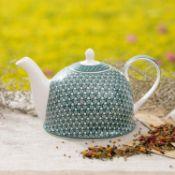 + VAT Brand New Jameson + Tailor Brilliant Porcelain Blueflorets Teapot (Similar To Image Shown)