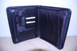 + VAT Brand New Samsonite Black Leather & Fabric Executive Folder With Two Inner Pockets-Card