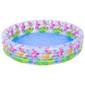 + VAT Brand New 120x25cm Flamingo Printed Three Ring Pool - Ages 3+ - Easy To Setup - ISP £12 (