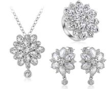 + VAT Brand New Platinum Plated Zirconia Flower Pendat Neckalce Earring and Ring Set