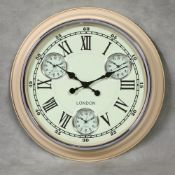 + VAT Brand New Big Multi Dial Wall Clock - Cream With White Face