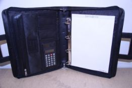 + VAT Brand New Samsonite Black Leather Executive Folder With Two Inner Pockets-Pen Holders-Card