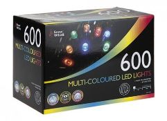+ VAT Brand New 600 Multi Coloured Mains Operated LED Lights - 8 Function - Mains Transformer