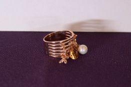 + VAT Brand New Rose Colour Multi Layer Charm Ring