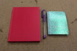 + VAT Brand New Oxford UK Limited Glittery Notebook & Pink Notebook With Gel Pen Set