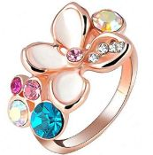 + VAT Brand New Rose Gold Plated White Enamel and Austrian Crystal Ladies Ring