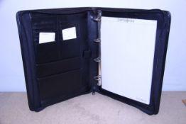 + VAT Brand New Samsonite Black Leather Executive Folder With-Card Pockets-Four Inner Pockets-Note