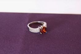 + VAT Brand New Platinum Plated Red and White Stone Ring