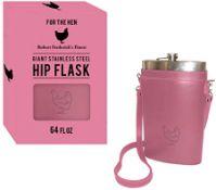 + VAT Brand New 64oz Large Hip Flask - Pink Hen Carry Case