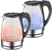 + VAT Brand New 2200w Blue LED Glass Water Kettle - 1.7L - Spilt Base - Includes Filter