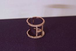 + VAT Brand New Rose Colour White Stone Buckle Design Ring