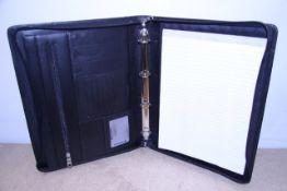 + VAT Brand New Samsonite Black Leather Executive Folder With Pen Holders-Card Pockets-Three Inner