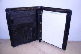 + VAT Brand New Samsonite Black Leather Executive Folder With Pen Holder-Card Pockets-Two Inner