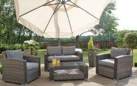 + VAT Brand New Chelsea Garden Company 4-Piece Grey Rattan Outdoor Sofa Set With Grey Cushions -