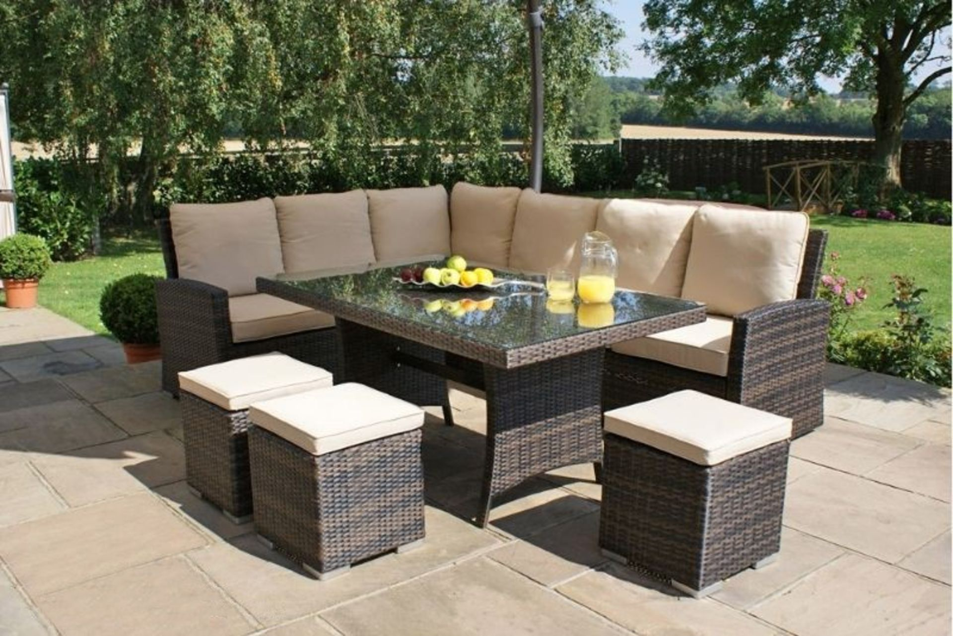 + VAT Brand New Chelsea Garden Company 8-Seater Brown Rattan Corner Dining Set With Ivory - Image 3 of 3