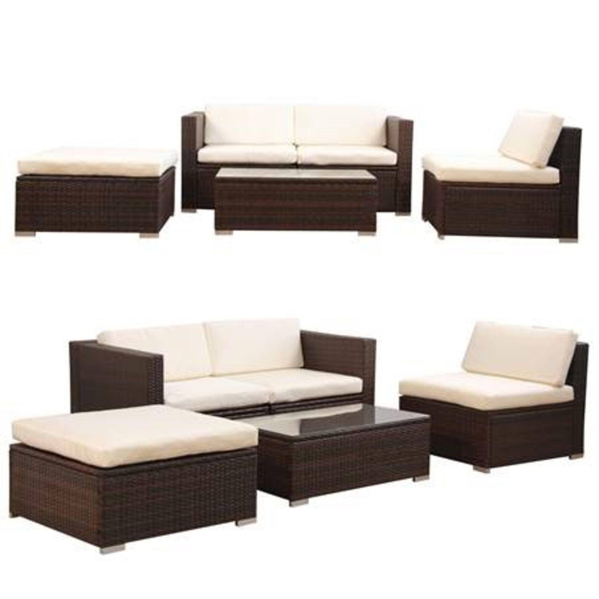 + VAT Brand New Chelsea Garden Company Modular Light Brown Rattan Corner Sofa Set With Ivory - Image 2 of 2