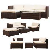 + VAT Brand New Chelsea Garden Company Modular Light Brown Rattan Corner Sofa Set With Ivory