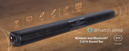 + VAT Brand New On-Earz Alexa Enabled 80w Soundbar - 80w RMS Wi-Fi TV Bar With Alexa Amazon Voice