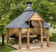 + VAT Brand New 9.2m sq 6 Corner Spruce Open Grill Cabin - Inside Grill with Cooking Platforms and