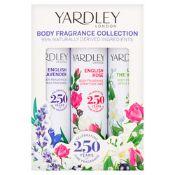 + VAT Brand New Yardley 3X75ml Body Spr. Lav/Ros/Lily