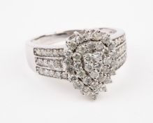 + VAT Brand New White Gold 1ct Diamond Cluster Ring Set With 63 Diamonds In Tear Drop Design