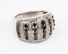 + VAT Brand New 1ct Black & White Diamond Ring Set With Large Amount Of Black And White Diamonds