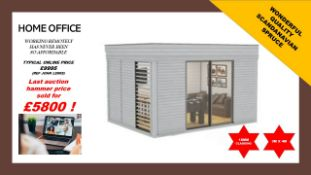+ VAT Brand New Insulated 3m x 4m Garden Office Cube With Glass Sliding Doors - Sunscreen