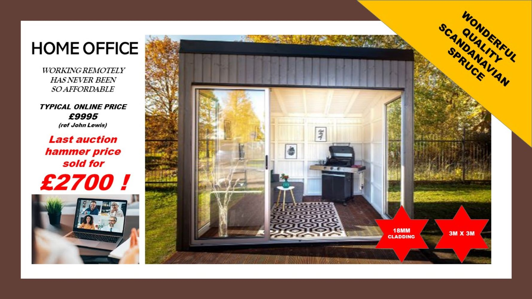 HOME OFFICE BUILDINGS - ** Superb Quality Scandinavian Spruce Buildings At Unbeatable Prices**