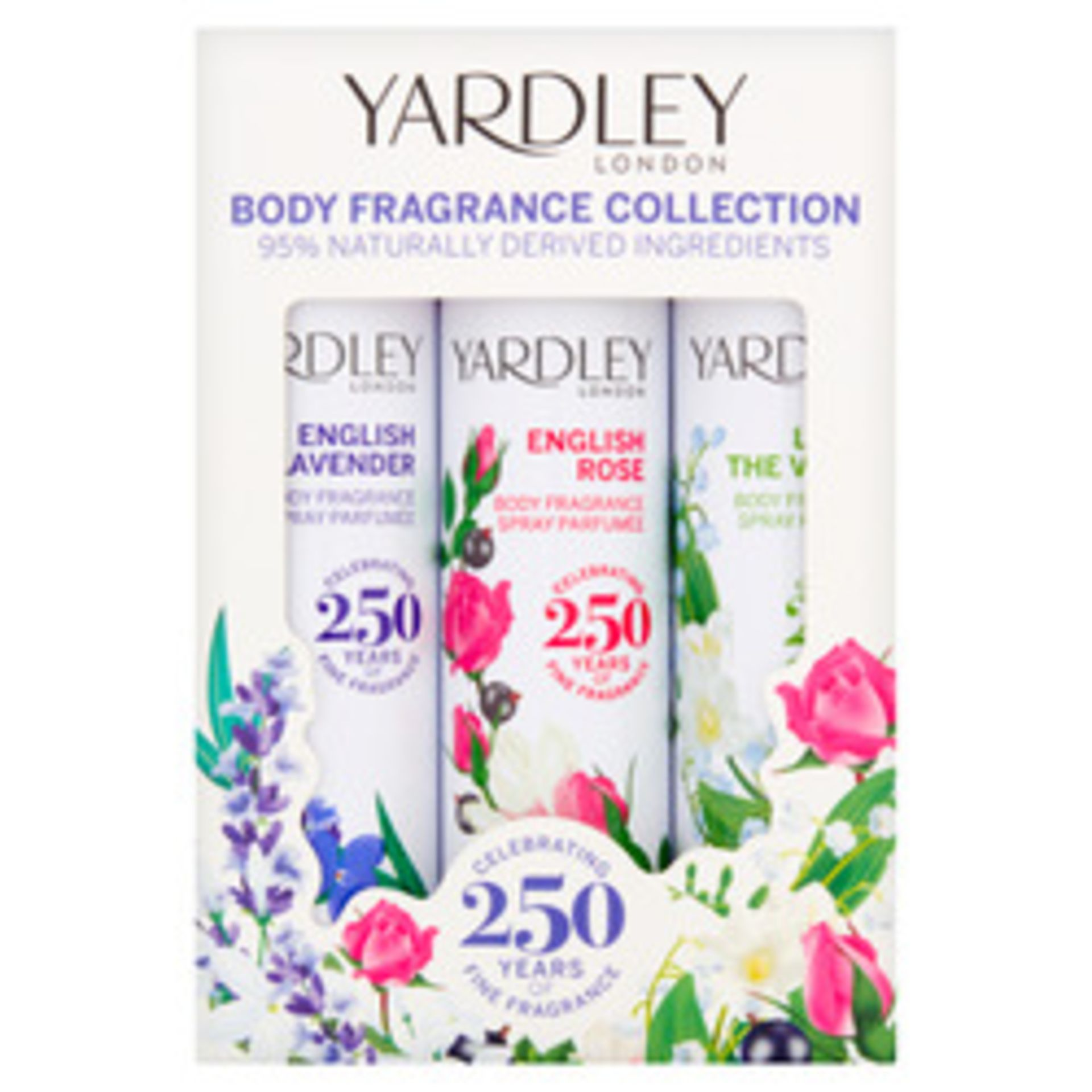 + VAT Brand New Yardley 3X75ml Body Spr. Lav/Ros/Lily