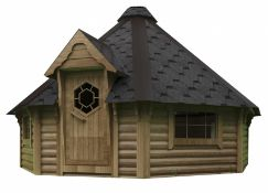 + VAT Brand New 16.5m Sq Camping Cabin - Eight Corner Cabin - Roof Covered With Bitumen Shingles -