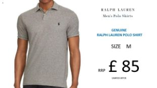 + VAT Brand New Ralph Lauren Custom-Fit Small Pony Polo Shirt - Andover Heather - Size M - Ribbed