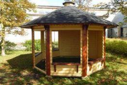 + VAT Brand New Eight Corner 9.9m sq Spruce Open Pavilion/Gazebo - 3 Open Walls and 4 Closed