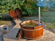 + VAT Brand New 1.9m Spruce Hot Tub with Stainless Steel Heater and Chimney - Stainless Steel
