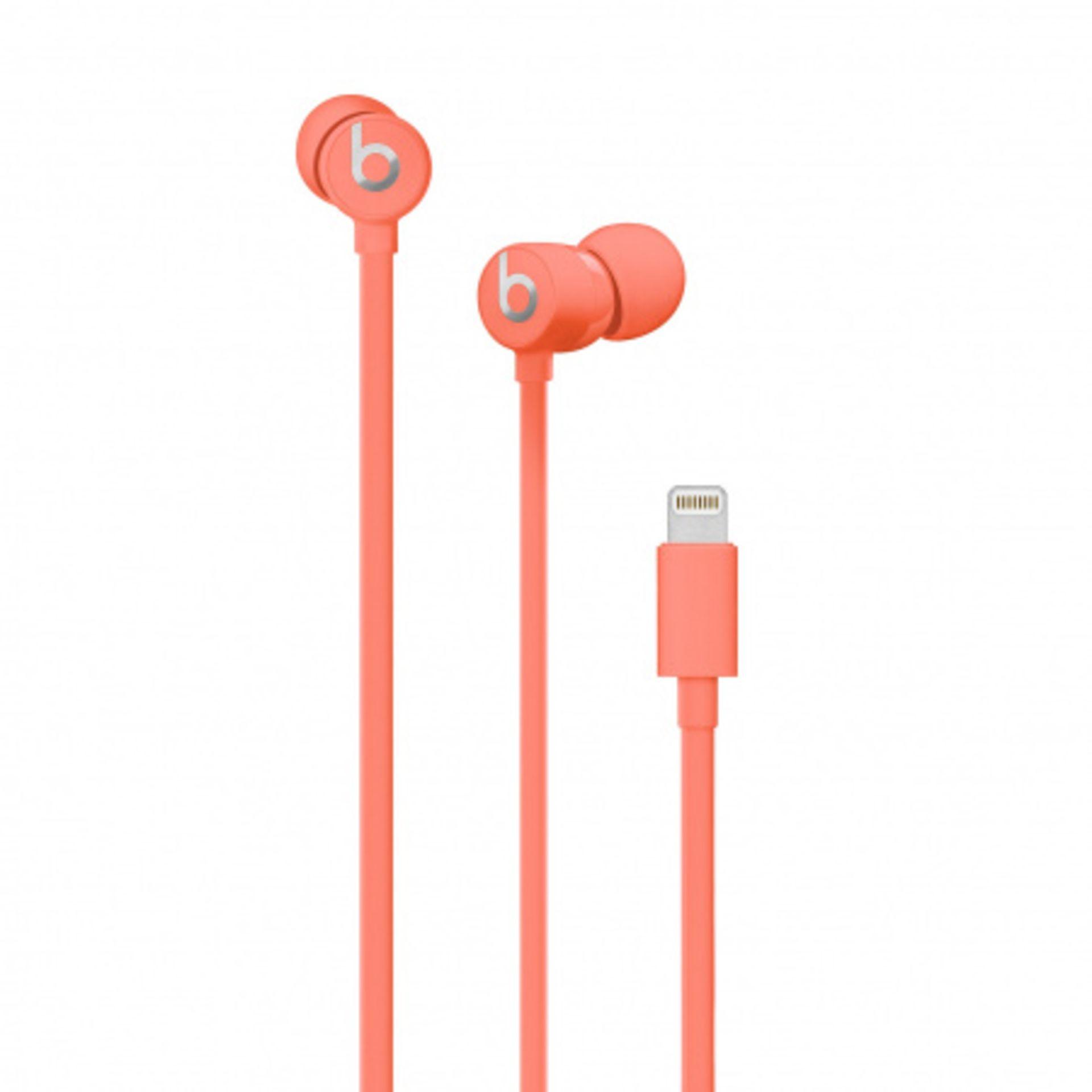 + VAT Brand New UrBeats 3 Earphones With Lightning Connector - Coral - Ergonomic Design - High