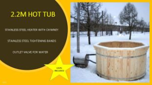 + VAT Brand New 2.2m Spruce Hot Tub with Heater Inside - Stainless Steel Heater with Chimney -