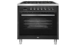 + VAT Grade A/B Bush BRC90DFBLk 90cm Duel Fuel Range Cooker - Oven Capacity 103 Litres - Five Gas