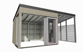 + VAT Brand New Superb Spruce 5m x 3m Garden Living Cube With Covered Outdoor Terrace Section -