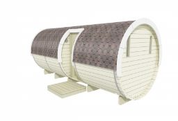 + VAT Brand New 2.2 x 5.4m Barrel For Sleeping - Side Entrance - Three Rooms - Made From Spruce -