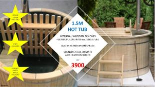 + VAT Brand New 1.5m Hot Tub - Internal Wooden Benches - Polyprolene Internal Structure - Clad In