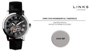 + VAT Brand New Links of London Oxford Automatic Gents Watch - Black Leather Strap - Date