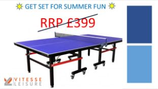 + VAT Brand New Vitesse Leisure Indoor Table Tennis Table - Movable & Foldable - RRP £399.00 -