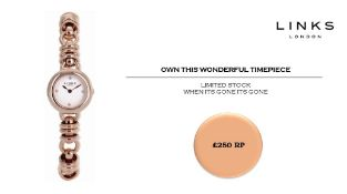 + VAT Brand New Links Of London Sweetie 18ct Rose Gold Plated Watch - Four White Sapphires - Quartz