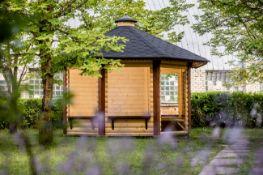 + VAT Brand New 9.9m sq Spruce Open Gazebo Pavilion - 8 Corner - 3 Closed Walls - Holds 8-15 People
