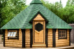 + VAT Brand New 16.5m sq Grill Cabin with 4.3m sq Sauna Extension - Standard Grill - Table Around