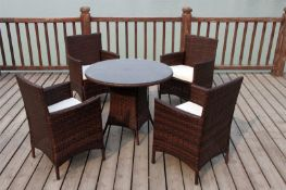 + VAT Brand New Chelsea Garden Company 4-Seater Brown Rattan Outdoor Dining Set - Item Is Available
