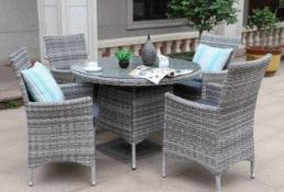+ VAT Brand New Chelsea Garden Company 4-Person Grey Dining Set With Cushions - Item Is Available