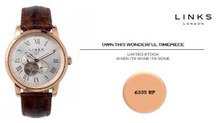 + VAT Brand New Links Of London Noble Rose Gold Plated Gents Watch - Leather Strap - Circular White