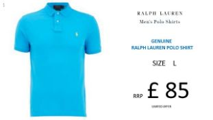 + VAT Brand New Ralph Lauren Custom-Fit Small Pony Polo Shirt - Cove Blue - Size L - Ribbed Polo
