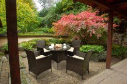 + VAT Brand New Chelsea Garden Company 4-Seater Brown Rattan Outdoor Dining Set - Item Is